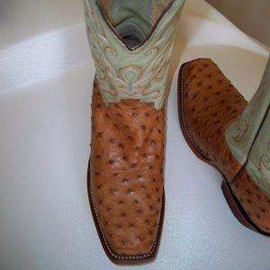 "JUSTIN Bent Rail 11"" Full Quill Ostrich Boots 8"